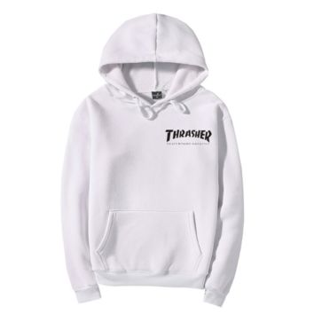 Men/Women sportswear Thrasher hoodie flame skateboard dead fly west hip-hop harajuku hooded fleece Thrasher THRASHER sweatshirt Grey