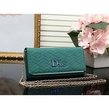DIOR Women Fashion Shopping Leather Shoulder Bag Satchel Crossbody Green I-LLBPFSH