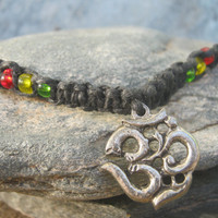 Rasta Om Black Hemp Macrame Adjustable Necklace