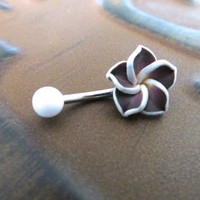 Dark Purple Hawaiian Flower Plumeria Belly Button Ring Hawaii Navel Stud Jewelry Bar Barbell Piercing Tropical Hibiscus