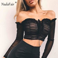 Nadafair Sexy Ruffle Off Shoulder Top Long Sleeve Black White Women Tops And Blouses Bandage Ruched Mesh Crop Top Female Shirt