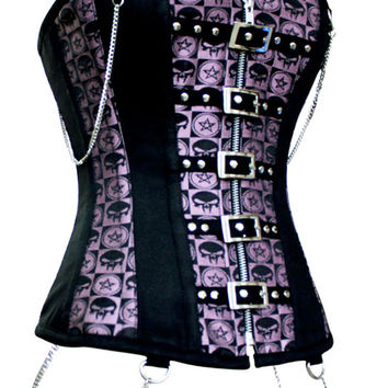 Factory Sale Purple Bra Corset Steampunk Clothing Women Corselet Zipper Sexy Overbust Punk Lingerie Hot Plus Size 5294