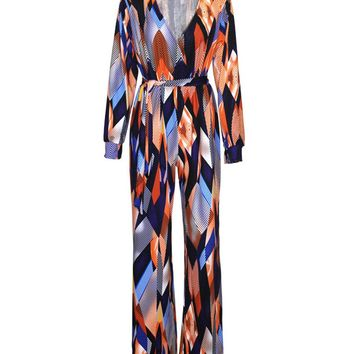 Streetstyle  Casual Deep V-Neck Color Block Printed Straight Jumpsuit