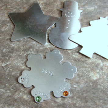 Personalized Ornament- Hand Stamped Ornament- Stamped Metal Ornament- Christmas Ornament- Snowman- Snowflake- Star- Custom- Keepsake- Tree