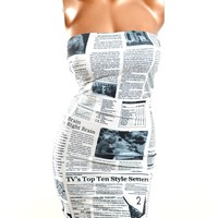 UV Glow Newspaper Print Strapless Bodycon Dress