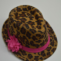 Fedora Hat Brown Leopard with Hot Pink Flower