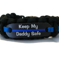 Keep my Daddy Safe Thin Blue Line Bracelet for Police Officers Kids