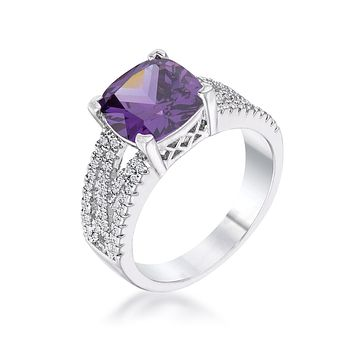 WildKlass 3Ct Elegant Silvertone Criss-Cross Amethyst Purple CZ Engagement Ring