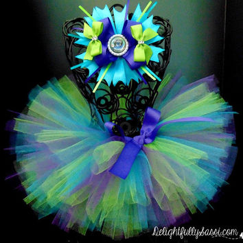 Pretty As A Peacock Tutu, Purple, Teal and Green Tutu, Includes Hairbow