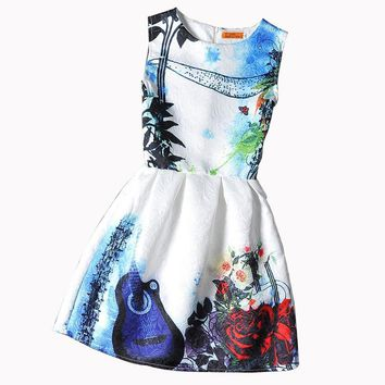 Family Matching Outfits Girls Dress New Style Sleeveless Printed Kids Dresses Mother and Daughter Party Princess Christmas Dress