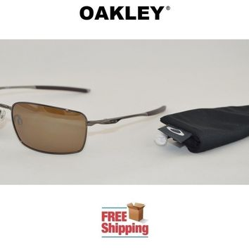 OAKLEY® SUNGLASSES SQUARE WIRE™ POLARIZED TUNGSTEN FRAME W/ TUNGSTEN MIRROR LENS