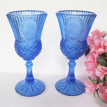 Pair Fostoria George Washington Cobalt Blue Goblest Avon Candle Holders
