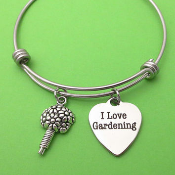 I Love Gardening, Bouquet, Silver, Heart, Bangle, Bracelet, Birthday, Lovers, Friends, Sister, Christmas, Gift
