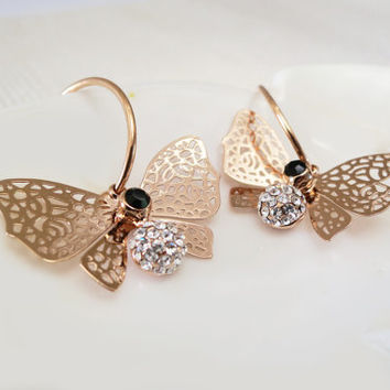 NEW, Rose Gold Filigree Butterfly Dangle Bridal Earrings with Black Rhinestone and Silver Fireballs