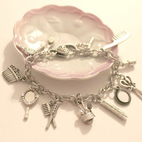 Hairdresser Stylist Themed Charm Bracelet  - Beautician themed