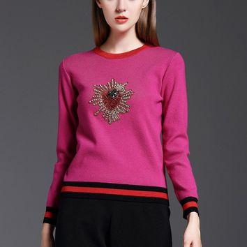 Retro fall winter new sweater hand-made Diamonds Beading Strawberry pattern Knitted pullover