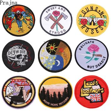 Prajna Stranger Things Gothic Patch Guns Roses Embroidered Patches For Clothing Garment Applique Sew Iron On Patch Badge Parches