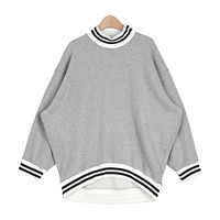 Line Striped High-Neck Sweatshirt