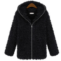 Poodie Faux Fur Hooded Jacket