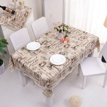 British Linen Cotton Table Cloth Crown Letter Printed Lace Edge Tableclothes Wedding Party Supply Toalha De Mesa Retangular