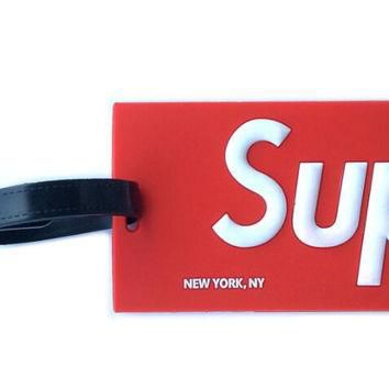 1Pcs set Cool Hot fashion Supreme logo luggage tag SUP red PVC bag pendants fashion su