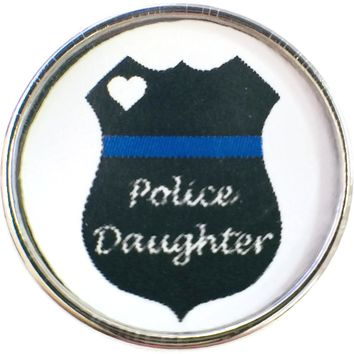 Thin Blue Line Badge Shield with Police Daughter Support your Officer 18MM - 20MM Snap Charm New Item