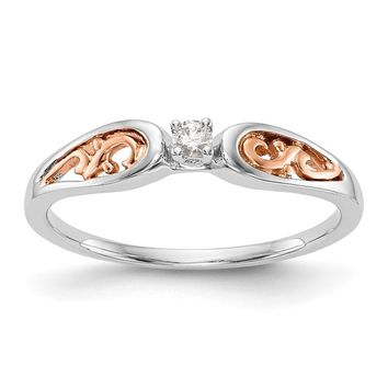 14K White Gold And Rose Gold Filigree Diamond Promise / Engagement Ring