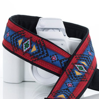 Tribal dSLR Camera Strap, Southwestern, Camera Neck Strap, Canon or Nikon, Red, Blue, SLR, Pocket, Native American Inspired, 132 a