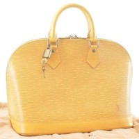 Authentic Louis Vuitton Epi Alma Hand Bag Yellow LV M52145 #2483