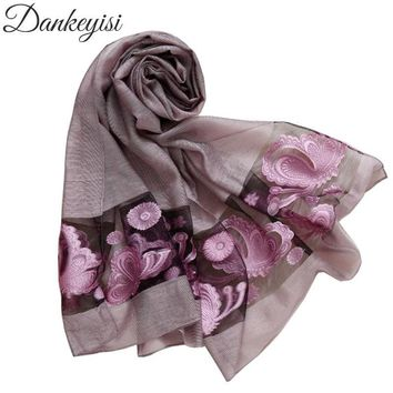 DANKEYISI 2018 Fall Women Scarf Cotton Hollow Embroidery Butterfly Scarves Shawls & Wraps Pashmina Female Hijab Bandana Stoles