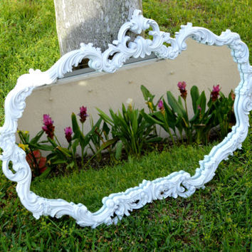 Large Vintage Wide Ornate Decorative White Mirror - Large Baroque Style White Ornate Mirror - White Baroque Style Mirror -Wonder Glow Mirror