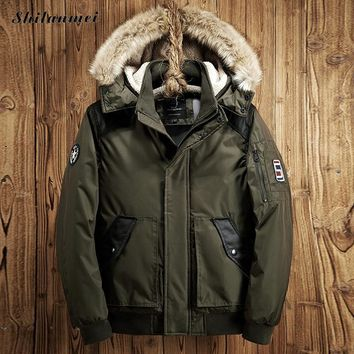 2017 winter men's jacket with a hood thick military jacket coat male casual