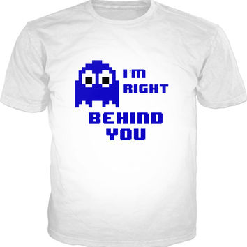 Retro gaming style unisex fit, classic white t-shirt, 8bit pixel art blue ghost, Look out!