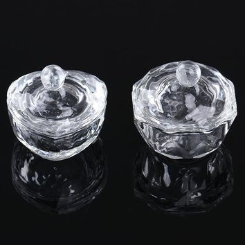 1 Pc Crystal Glass Cup Tool For Nail Powder Liquid Container Heart Octangle Mini Bowl Dappen Dish Nail Art Tools