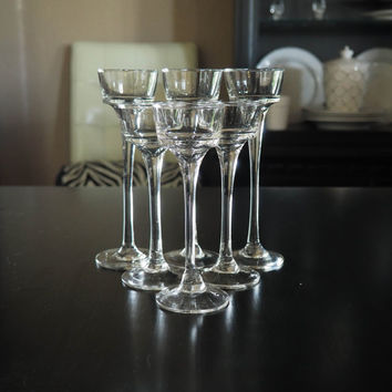 Elegant Stemmed Glass Candle Holders, Set of 6 tea light or votive holders, Danish Modern Home Decor