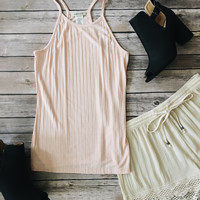 Ribbed Knit Tank Top (Blush)