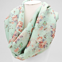Mint Floral Spring Infinity Scarf
