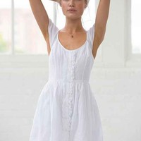 Band Of Gypsies Flutter-Sleeve Button-Down Dress- White