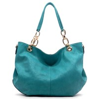 HauteChicWebstore Women's Faux Leather Chain Top Handle Hobo Blue at www.shophcw.com