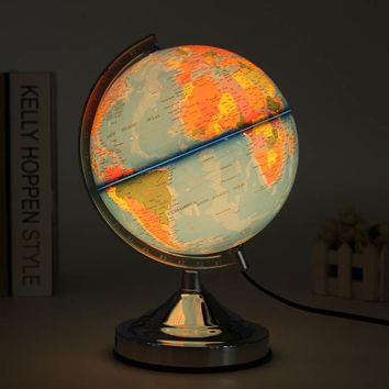 Illuminated Blue Ocean World Earth Globe Rotating Table Light Switch Night Light Table Lamp Desk Reading Light Decoration