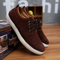 Solid Colored Suede Skater Shoes Brown