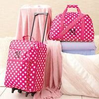 "3 Pc Girls Monogram Letter ""M""  Pink Luggage Set Rolling Suitcase Duffel Clutch"