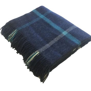 Merino Lambswool Throw Blanket - Windowpane - Airforce / Aqua, Made in England