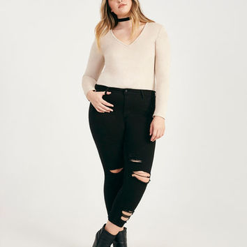 Plus Size Faux Suede Long Sleeve Bodysuit | Wet Seal