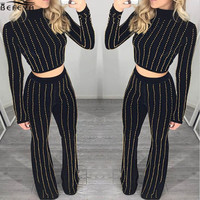 Hot Sale Sexy Striped Two Piece Jumpsuits 2016 New Satin Bell-bottom Trousers Women Set Casual Fitness Beading Women Rompers