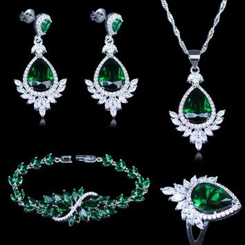 Engagement Jewelry Silver Color 925 Mark Jewelry Sets Women's Green Cubic Zircon Earrings/Rings/Pendant/Necklace/Bracelets Sets