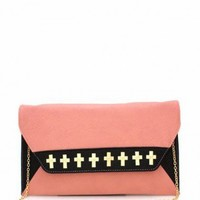 Cross Studded Pink Clutch   - Diva Hot Couture