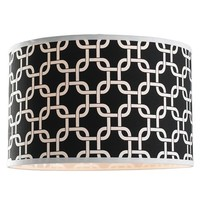 16 inch Geometric Fretwork Pattern Fabric Drum Shade - Shades of Light