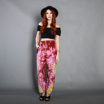80s Ethnic TIE-DYE PANTS / 1980s Slouchy Rayon Harem Pants Trousers