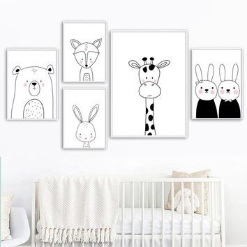 Giraffe Rabbit Bear Fox Bunny Nordic Posters And Prints Wall Art Canvas Painting Nursery Wall Pictures Baby Girl Boy Room Decor